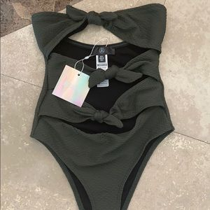 misguided bandeau bow front swimsuit, one peice